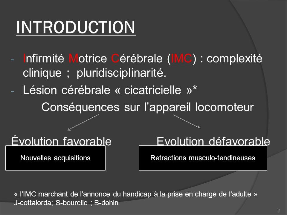 Retractions musculo-tendineusesNouvelles acquisitions INTRODUCTION - Infirmité Motrice Cérébrale (IMC) : complexité clinique ; pluridisciplinarité. -