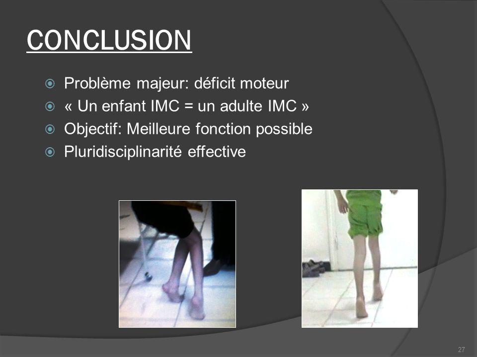 CONCLUSION Problème majeur: déficit moteur « Un enfant IMC = un adulte IMC » Objectif: Meilleure fonction possible Pluridisciplinarité effective 27