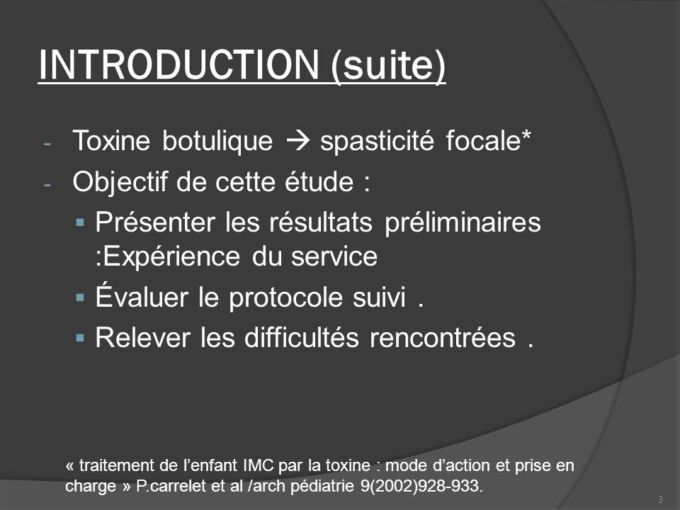 INTRODUCTION (suite) - Toxine botulique spasticité focale* - Objectif de cette étude : Présenter les résultats préliminaires :Expérience du service Év