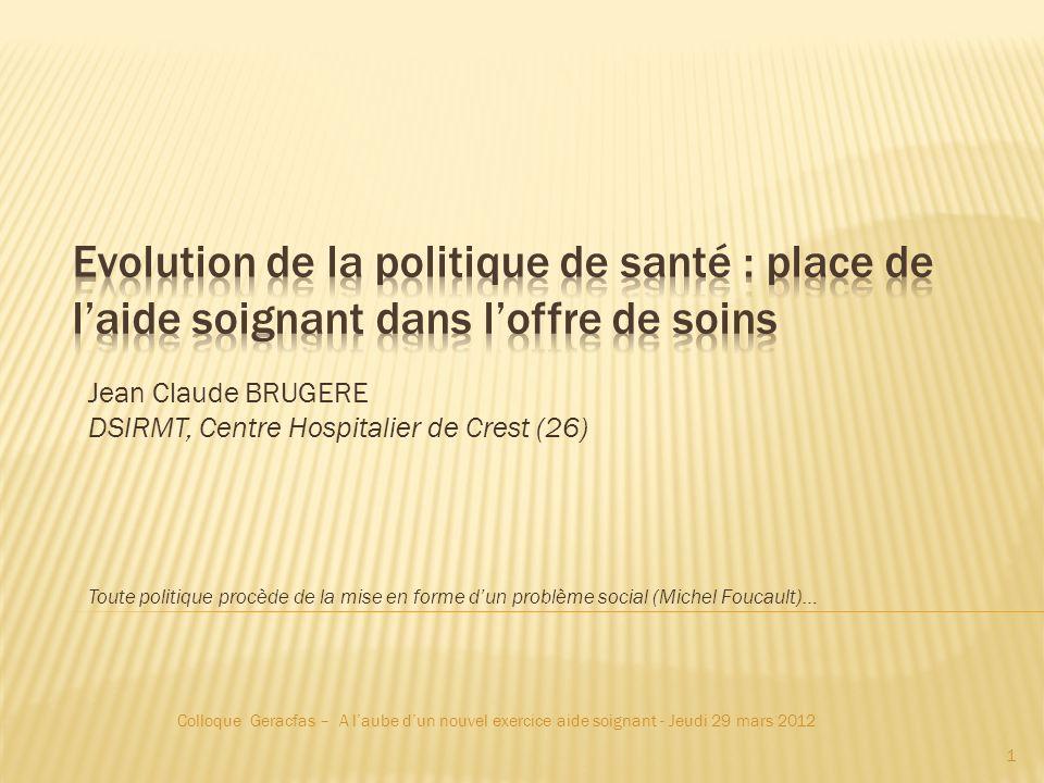 Jean Claude BRUGERE DSIRMT, Centre Hospitalier de Crest (26) Toute politique procède de la mise en forme dun problème social (Michel Foucault)… Colloq