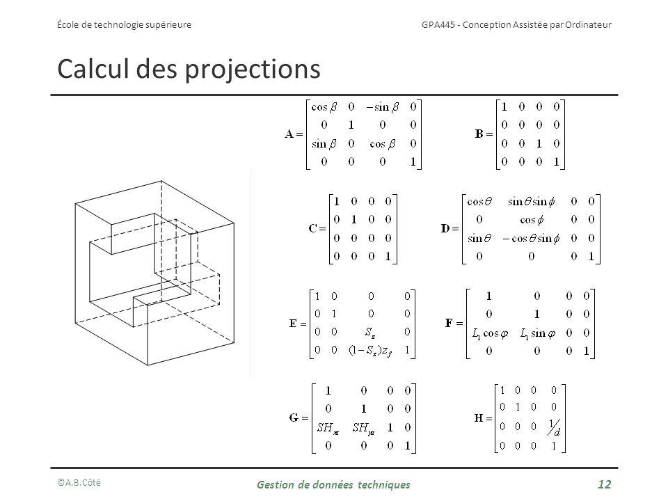 GPA445 - Conception Assistée par Ordinateur École de technologie supérieure Calcul des projections ©A.B.Côté Gestion de données techniques 12