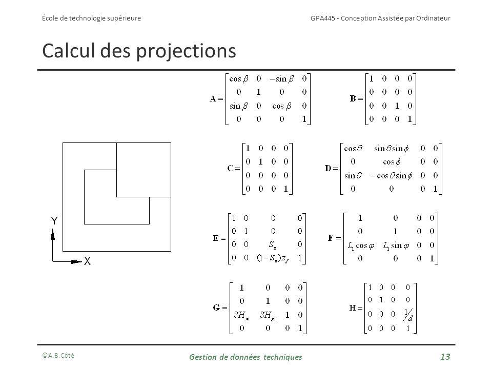 GPA445 - Conception Assistée par Ordinateur École de technologie supérieure Calcul des projections ©A.B.Côté Gestion de données techniques 13