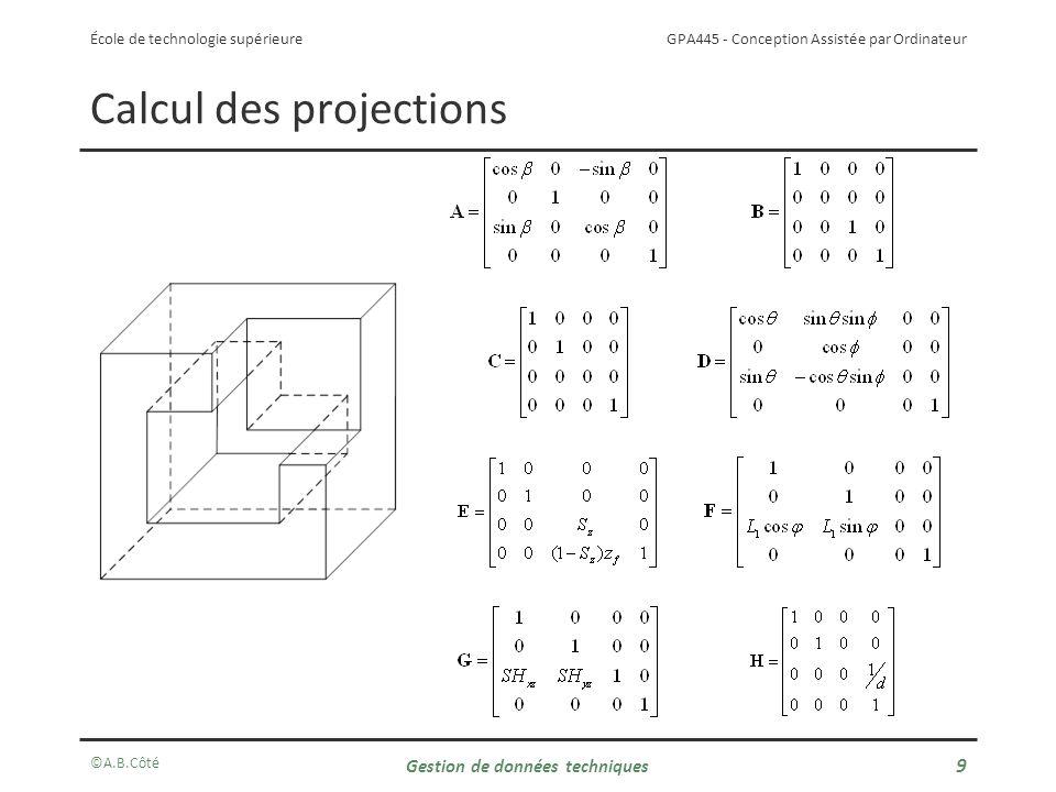 GPA445 - Conception Assistée par Ordinateur École de technologie supérieure Calcul des projections ©A.B.Côté Gestion de données techniques 10