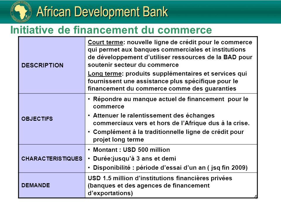 4 Initiative de financement du commerce DESCRIPTION Court terme: nouvelle ligne de crédit pour le commerce qui permet aux banques commerciales et inst