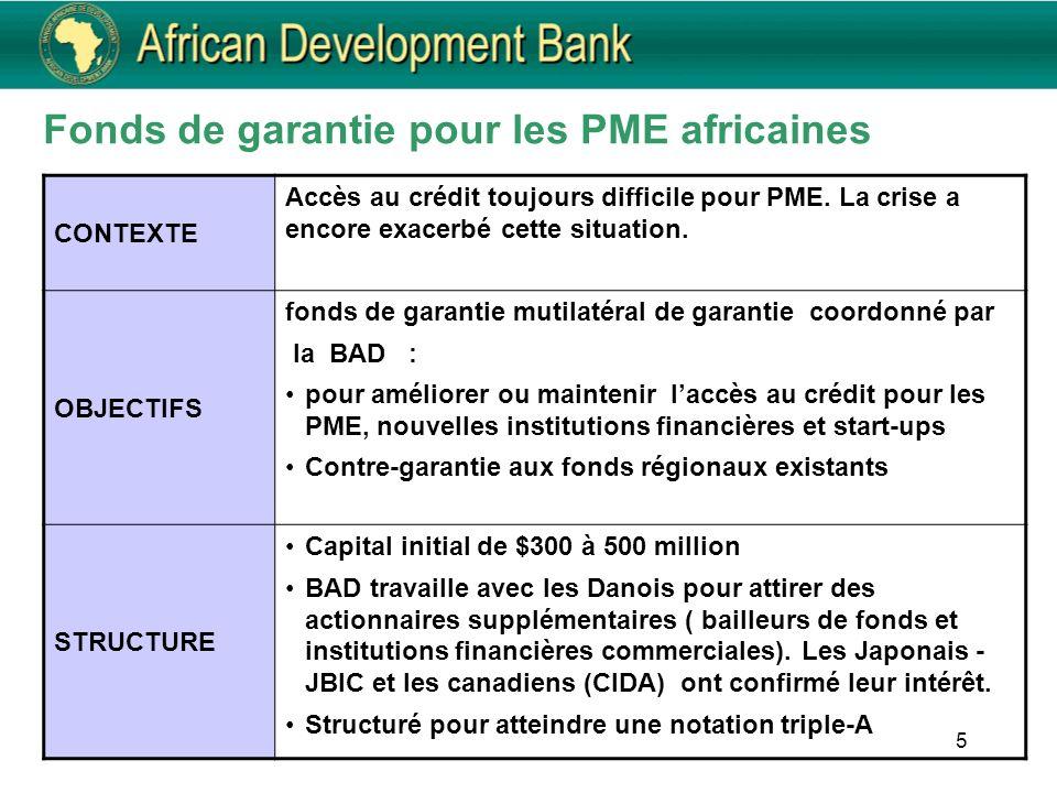 5 CONTEXTE Accès au crédit toujours difficile pour PME. La crise a encore exacerbé cette situation. OBJECTIFS fonds de garantie mutilatéral de garanti