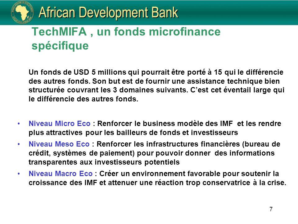 7 TechMIFA, un fonds microfinance spécifique Un fonds de USD 5 millions qui pourrait être porté à 15 qui le différencie des autres fonds. Son but est