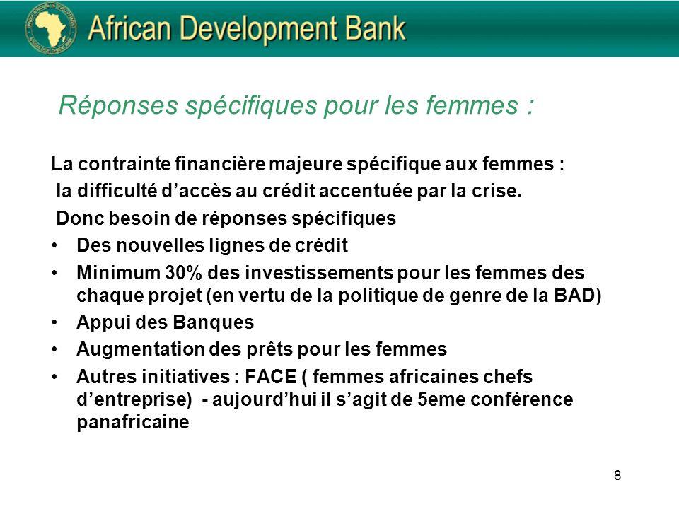 Réponses spécifiques pour les femmes : La contrainte financière majeure spécifique aux femmes : la difficulté daccès au crédit accentuée par la crise.