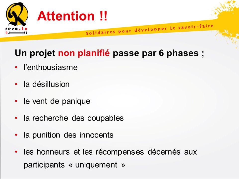 Un projet non planifié passe par 6 phases ; lenthousiasme la désillusion le vent de panique la recherche des coupables la punition des innocents les h