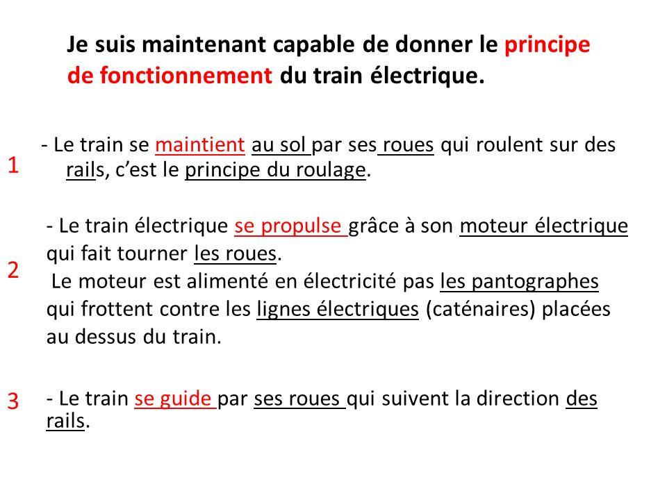 - Le train se maintient au sol par ses roues qui roulent sur des rails, cest le principe du roulage. - Le train électrique se propulse grâce à son mot