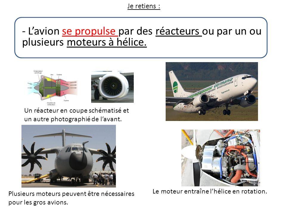 Je retiens : - Lavion se propulse par des réacteurs ou par un ou plusieurs moteurs à hélice. Un réacteur en coupe schématisé et un autre photographié