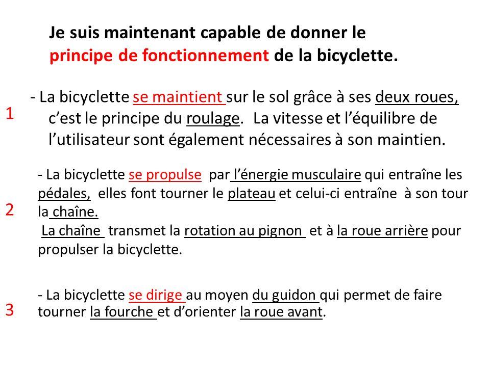 - La bicyclette se maintient sur le sol grâce à ses deux roues, cest le principe du roulage. La vitesse et léquilibre de lutilisateur sont également n