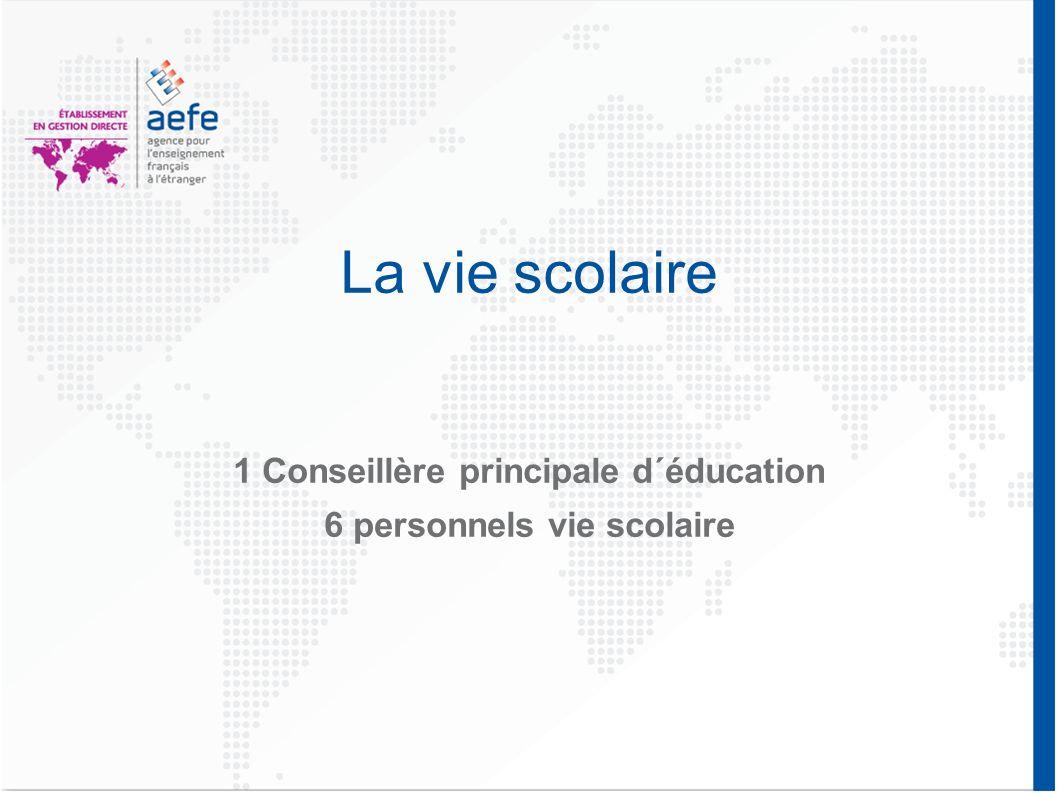 La vie scolaire 1 Conseillère principale d´éducation 6 personnels vie scolaire