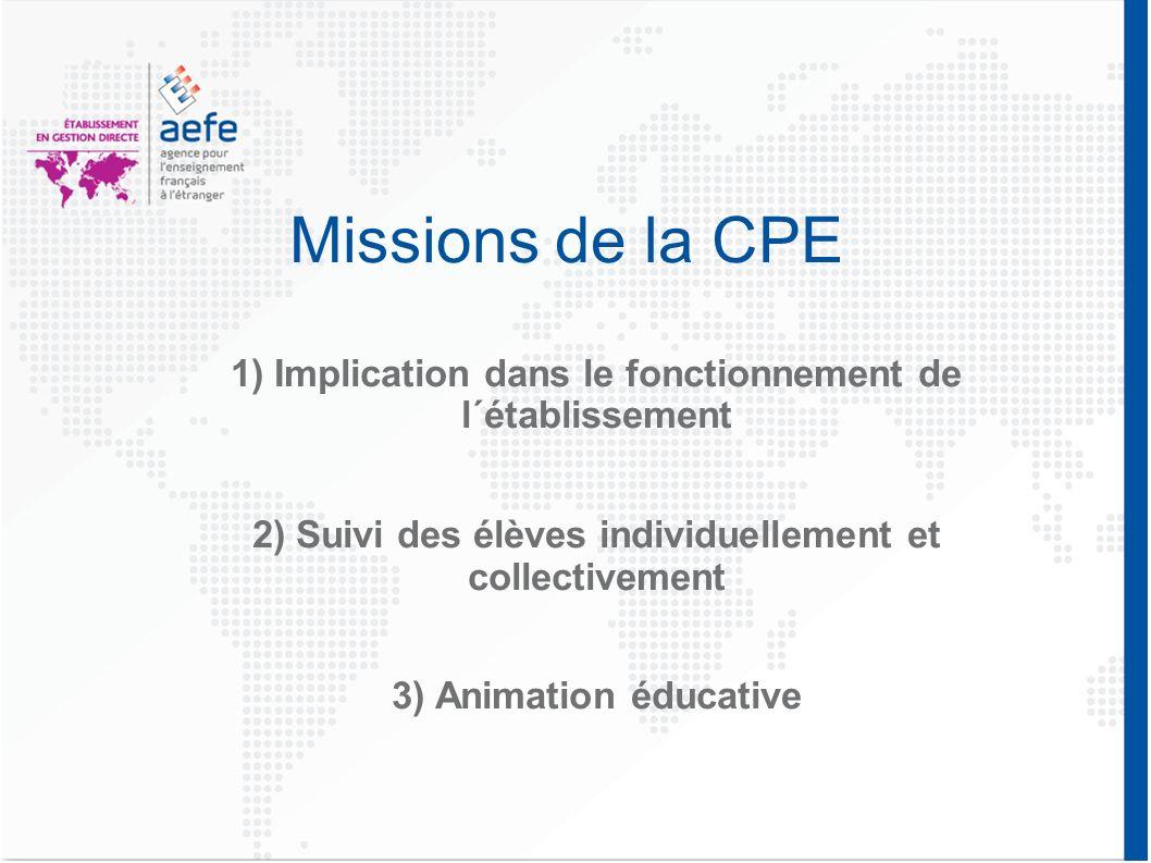 Missions de la CPE 1) Implication dans le fonctionnement de l´établissement 2) Suivi des élèves individuellement et collectivement 3) Animation éducat