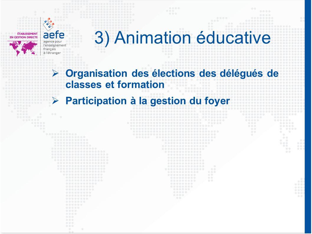 3) Animation éducative Organisation des élections des délégués de classes et formation Participation à la gestion du foyer