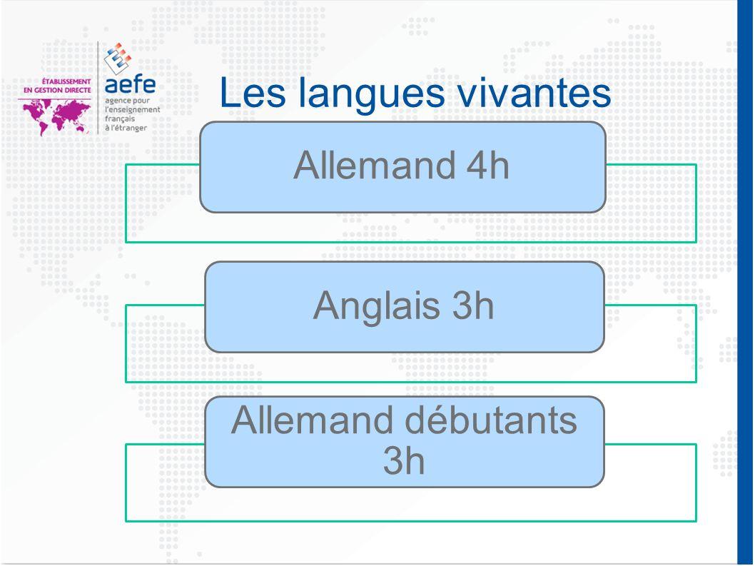 Les langues vivantes Allemand 4hAnglais 3h Allemand débutants 3h