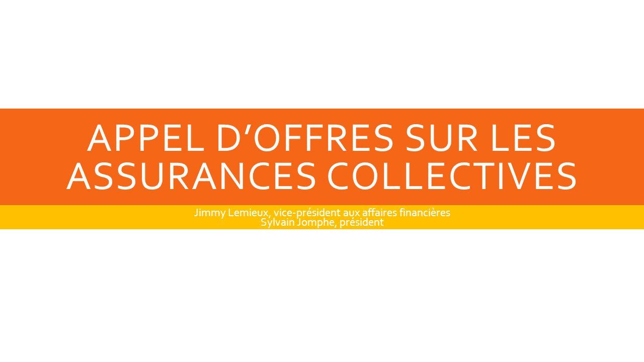APPEL DOFFRES SUR LES ASSURANCES COLLECTIVES Jimmy Lemieux, vice-président aux affaires financières Sylvain Jomphe, président