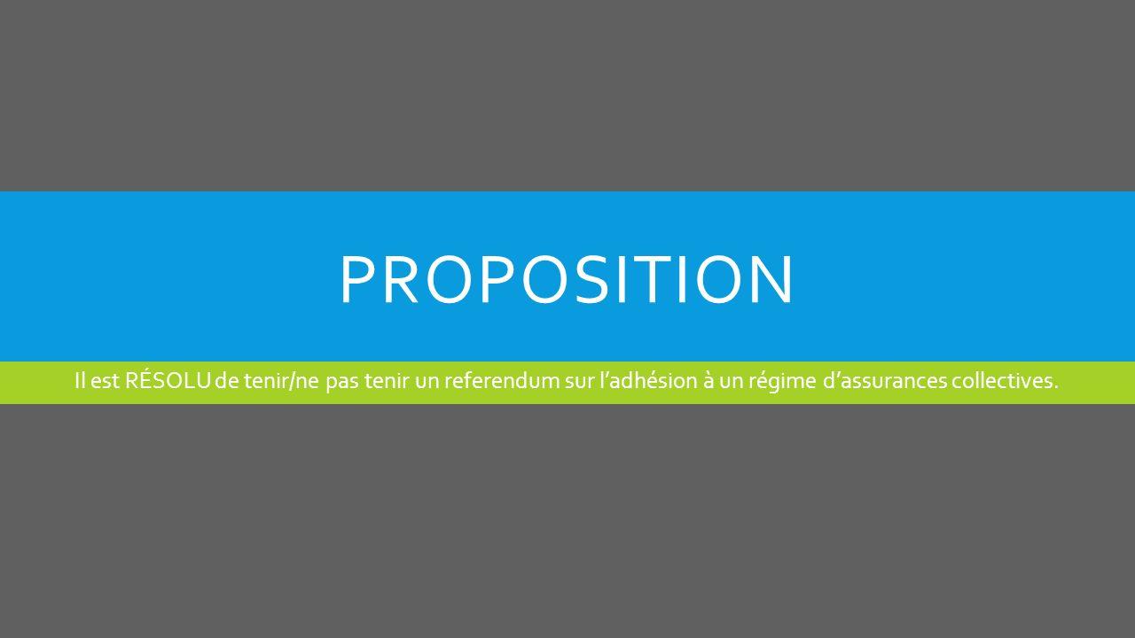 PROPOSITION Il est RÉSOLU de tenir/ne pas tenir un referendum sur ladhésion à un régime dassurances collectives.