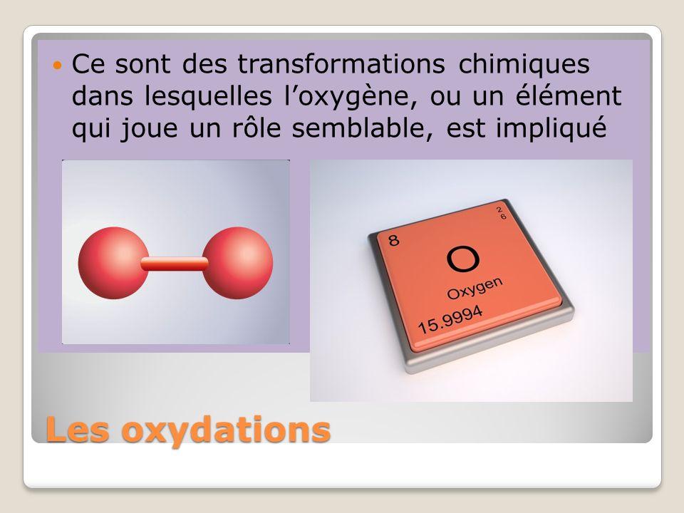 Les oxydations Ce sont des transformations chimiques dans lesquelles loxygène, ou un élément qui joue un rôle semblable, est impliqué