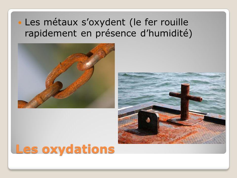 Les oxydations Les métaux soxydent (le fer rouille rapidement en présence dhumidité)