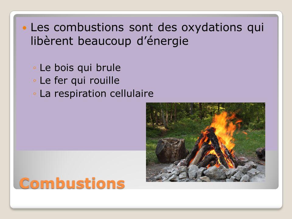 Combustions Les combustions sont des oxydations qui libèrent beaucoup dénergie Le bois qui brule Le fer qui rouille La respiration cellulaire