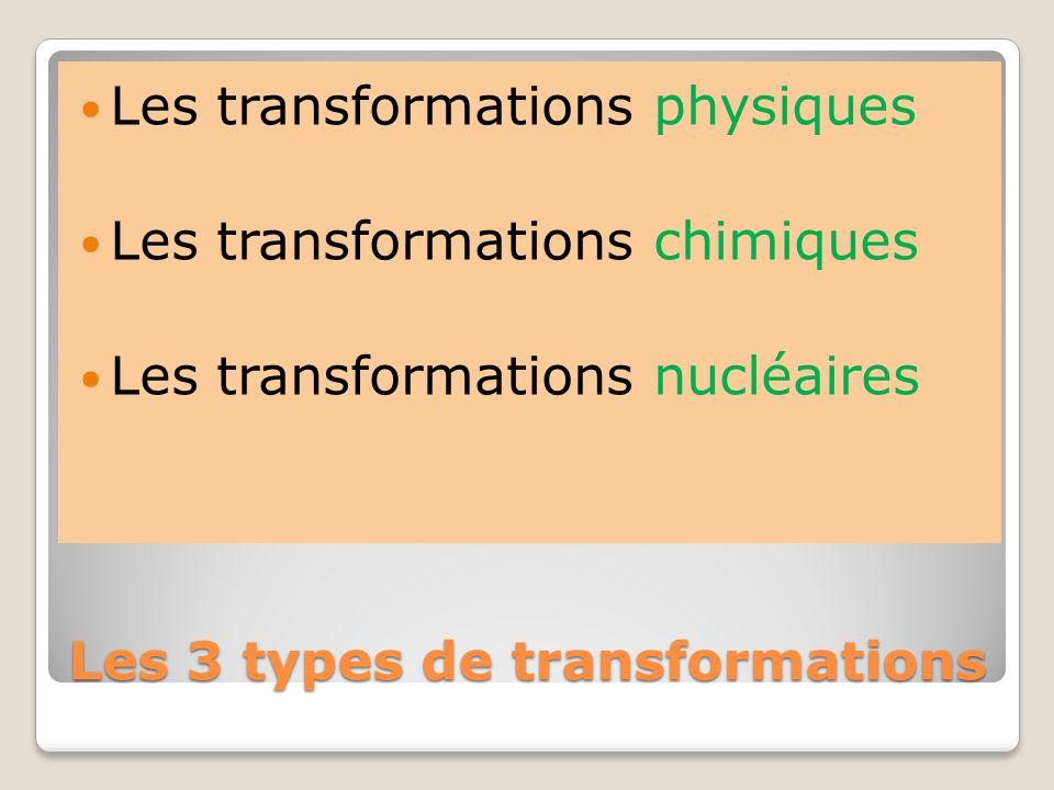 Les 3 types de transformations Les transformations physiques Les transformations chimiques Les transformations nucléaires