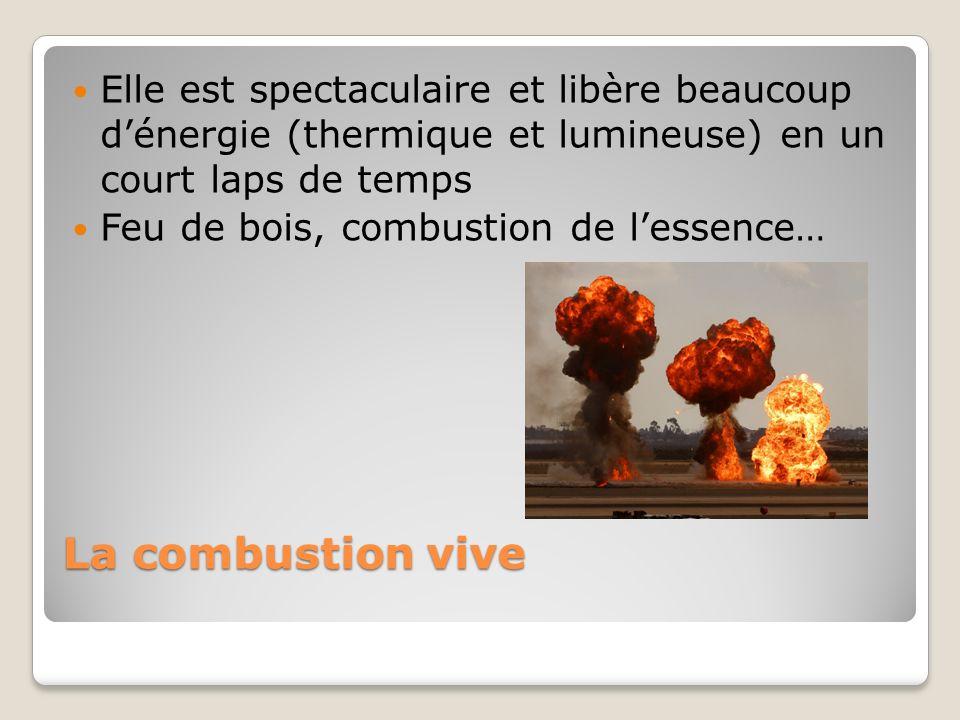 La combustion vive Elle est spectaculaire et libère beaucoup dénergie (thermique et lumineuse) en un court laps de temps Feu de bois, combustion de le