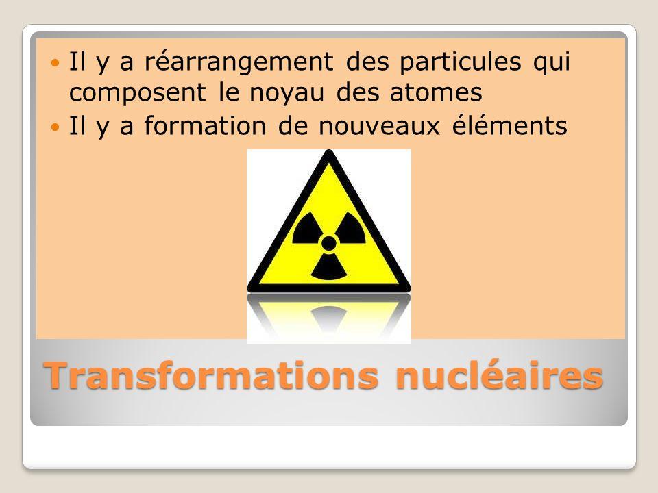 Transformations nucléaires Il y a réarrangement des particules qui composent le noyau des atomes Il y a formation de nouveaux éléments