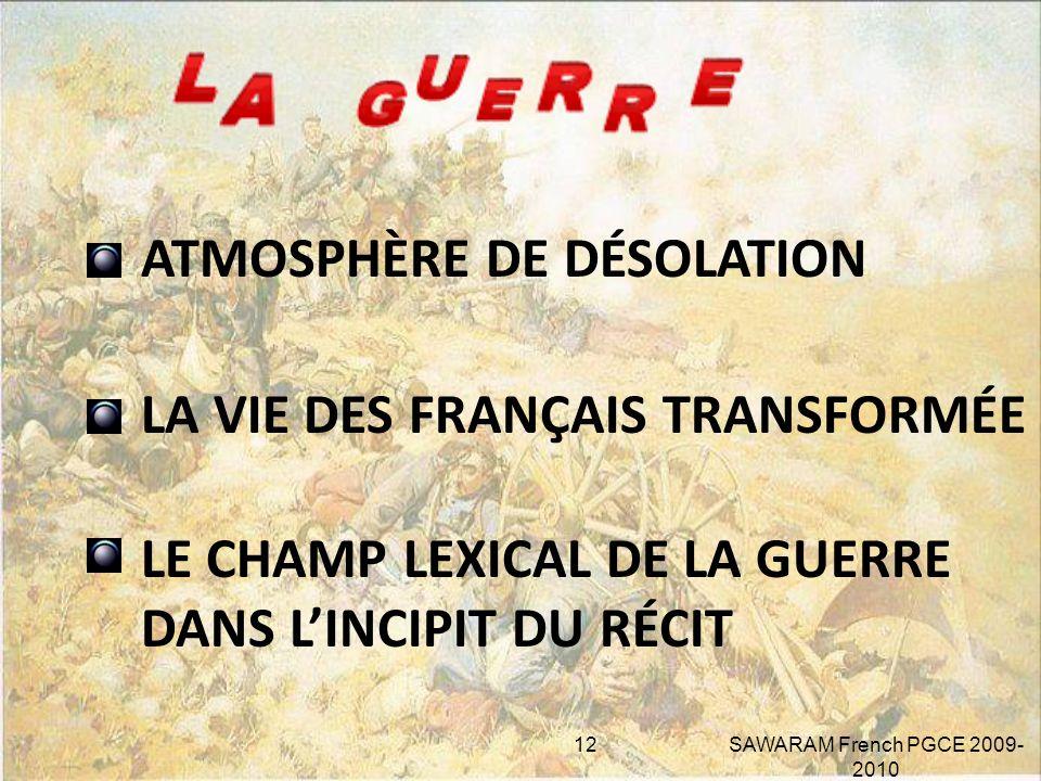 LES HORREURS DE LA GUERRE 11 SAWARAM French PGCE 2009-2010