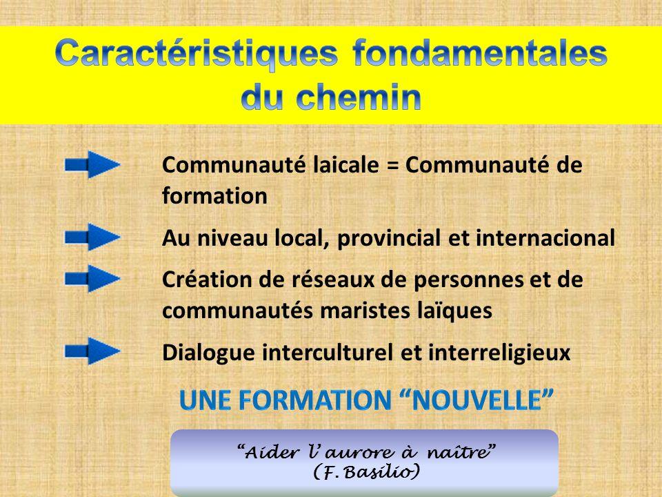 Aider l aurore à naître (F. Basilio) Communauté laicale = Communauté de formation Au niveau local, provincial et internacional Création de réseaux de