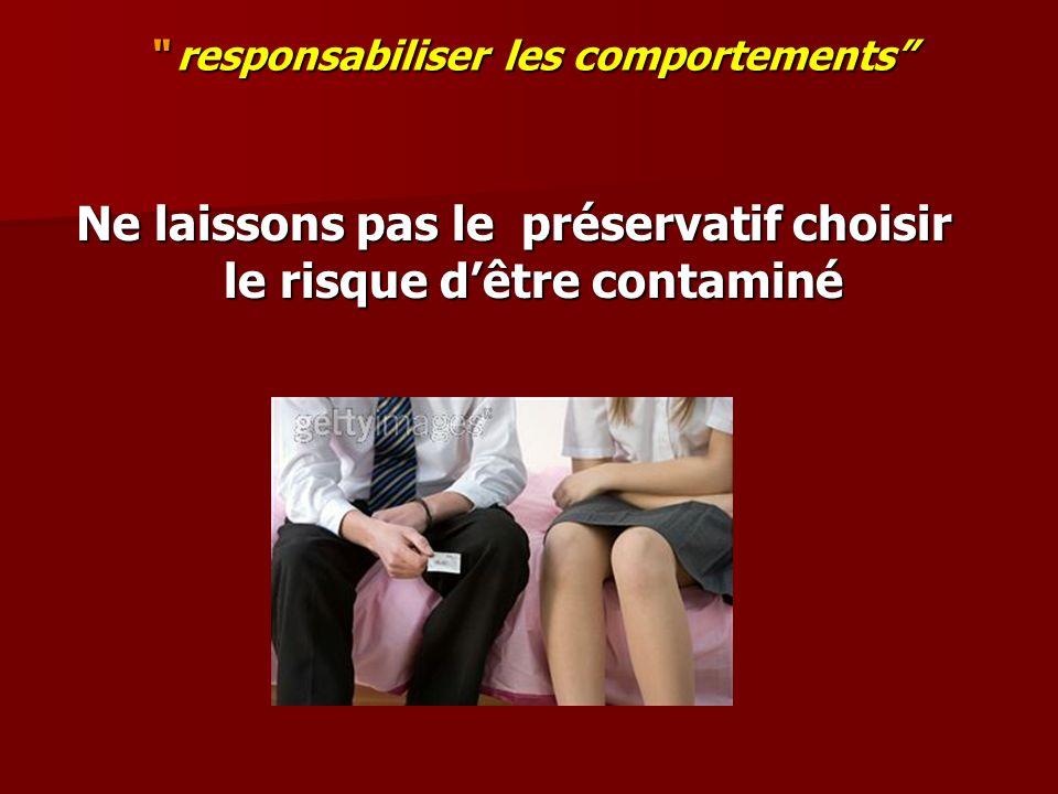 responsabiliser les comportements responsabiliser les comportements Ne laissons pas le préservatif choisir le risque dêtre contaminé