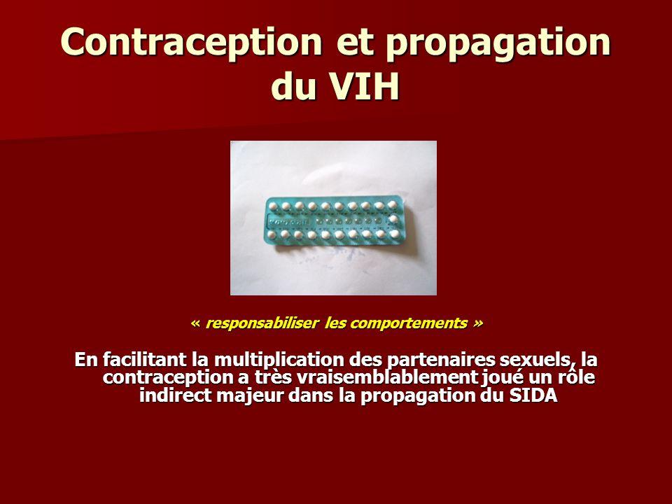 Contraception et propagation du SIDA Dans nos pays développés - mis à part le drame du sang contaminé - chez les sujets hétérosexuels aussi bien que bisexuels, la contraception constitue, à coté de la toxicomanie, un facteur non négligeable de propagation du SIDA.