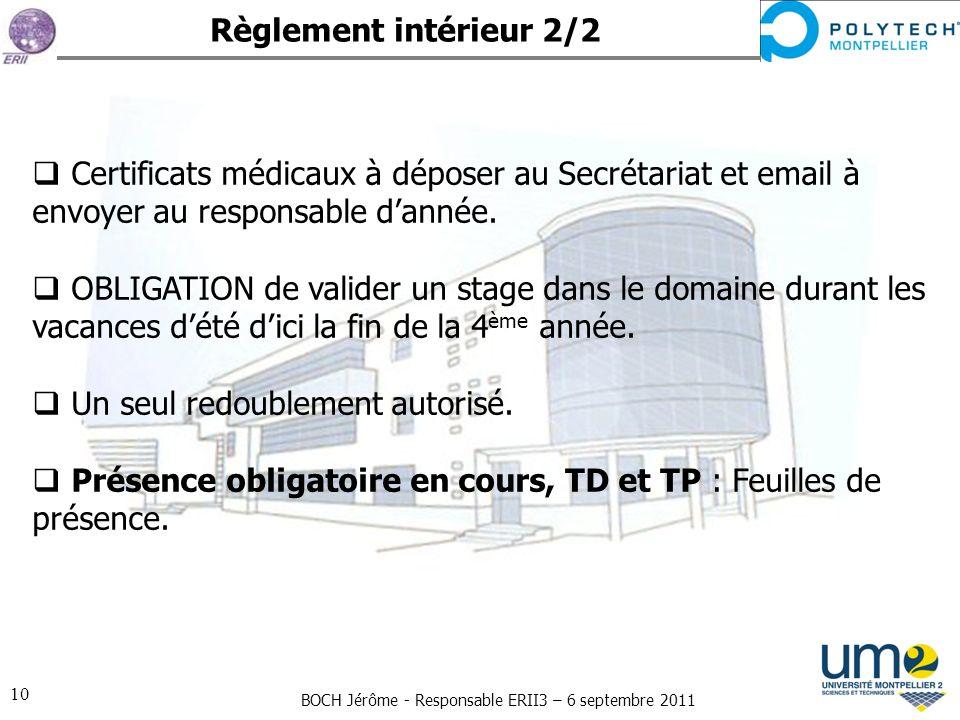 BOCH Jérôme - Responsable ERII3 – 6 septembre 2011 10 Règlement intérieur 2/2 Certificats médicaux à déposer au Secrétariat et email à envoyer au resp