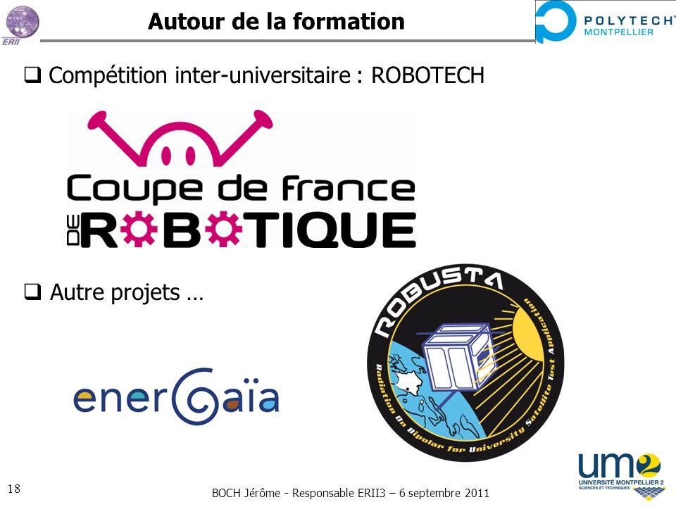 BOCH Jérôme - Responsable ERII3 – 6 septembre 2011 18 Autour de la formation Compétition inter-universitaire : ROBOTECH Autre projets …