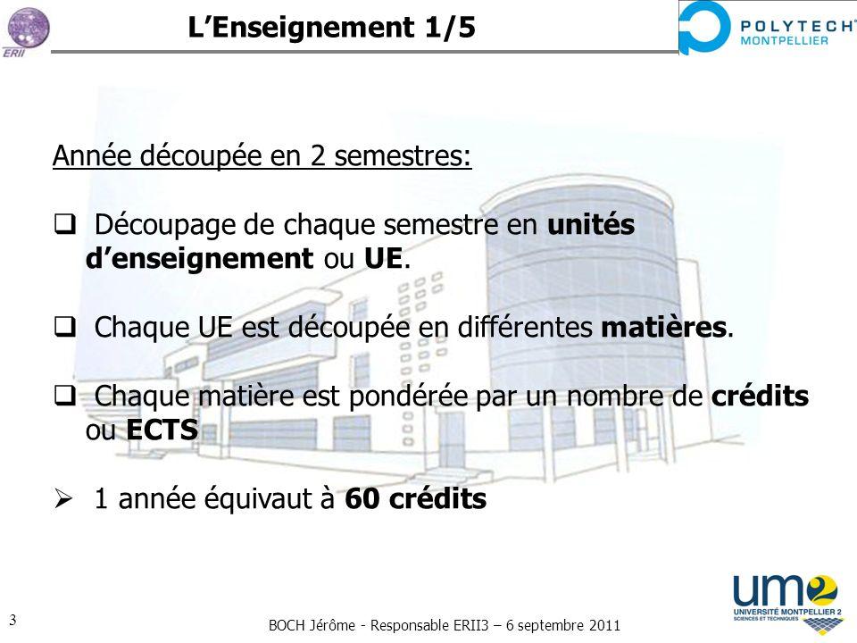BOCH Jérôme - Responsable ERII3 – 6 septembre 2011 3 Année découpée en 2 semestres: Découpage de chaque semestre en unités denseignement ou UE. Chaque