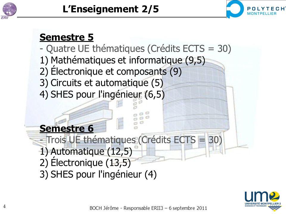 BOCH Jérôme - Responsable ERII3 – 6 septembre 2011 4 Semestre 5 - Quatre UE thématiques (Crédits ECTS = 30) 1)Mathématiques et informatique (9,5) 2)Él