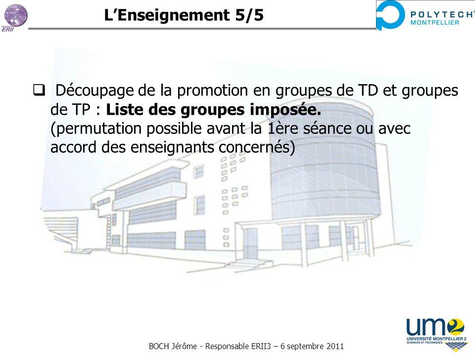 BOCH Jérôme - Responsable ERII3 – 6 septembre 2011 Découpage de la promotion en groupes de TD et groupes de TP : Liste des groupes imposée. (permutati