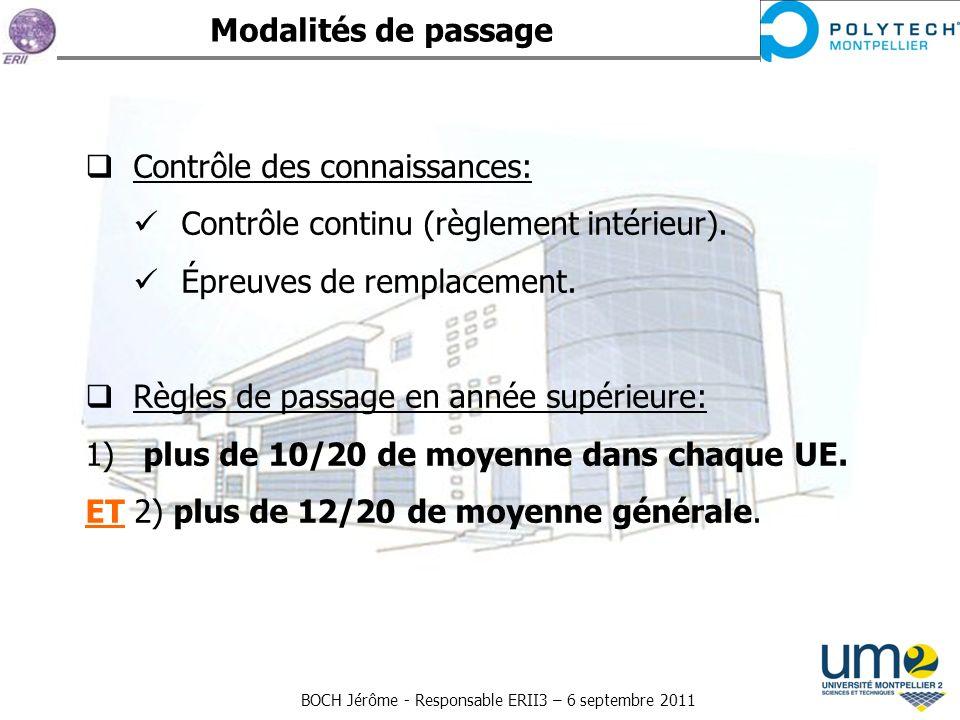 BOCH Jérôme - Responsable ERII3 – 6 septembre 2011 Contrôle des connaissances: Contrôle continu (règlement intérieur). Épreuves de remplacement. Règle