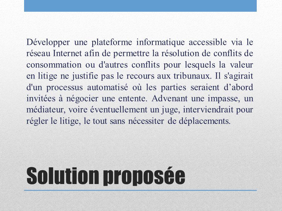 Solution proposée Développer une plateforme informatique accessible via le réseau Internet afin de permettre la résolution de conflits de consommation