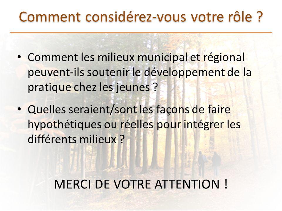 Comment considérez-vous votre rôle ? Comment les milieux municipal et régional peuvent-ils soutenir le développement de la pratique chez les jeunes ?
