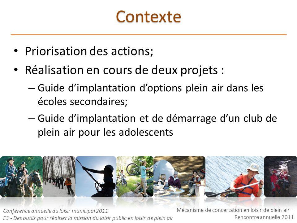 Mécanisme de concertation en loisir de plein air – Rencontre annuelle 2011 Conférence annuelle du loisir municipal 2011 E3 - Des outils pour réaliser