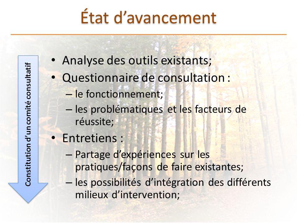 État davancement Analyse des outils existants; Questionnaire de consultation : – le fonctionnement; – les problématiques et les facteurs de réussite;