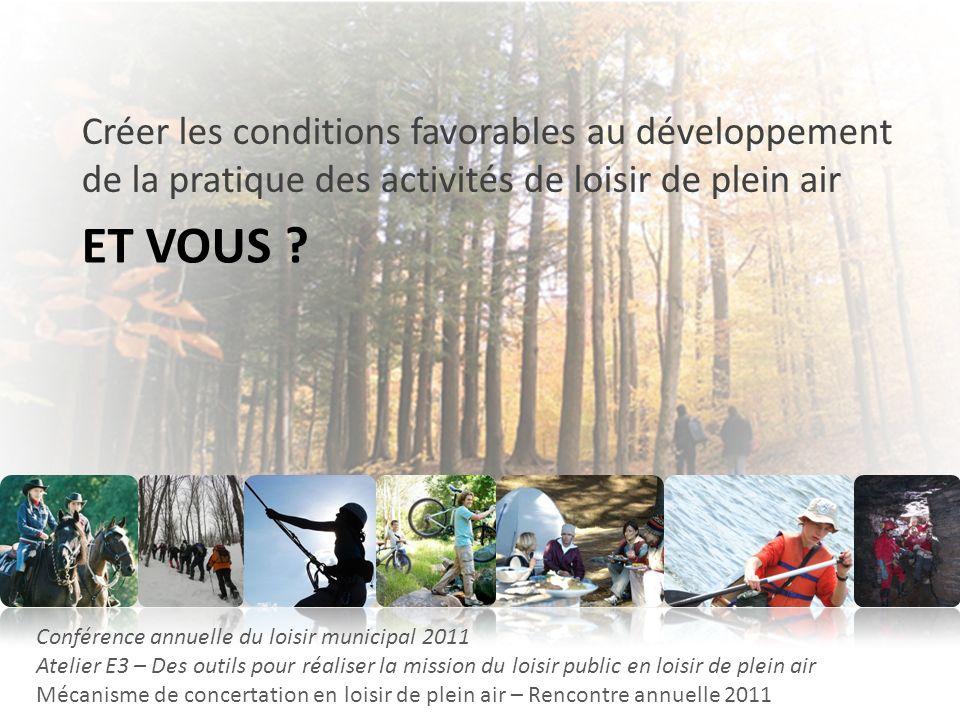 ET VOUS ? Créer les conditions favorables au développement de la pratique des activités de loisir de plein air Conférence annuelle du loisir municipal