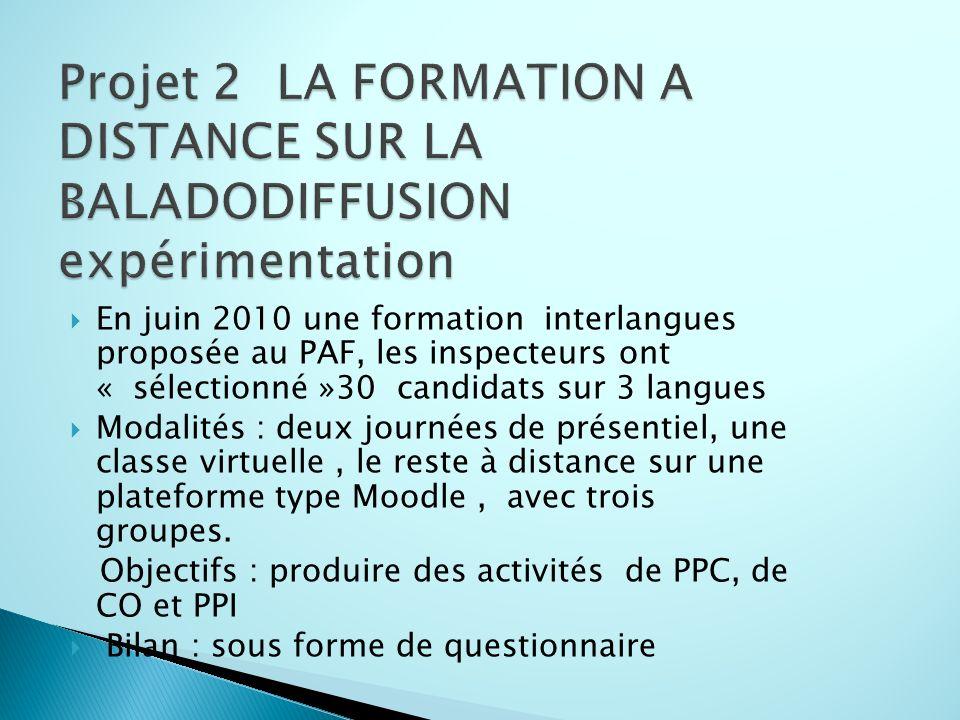 En juin 2010 une formation interlangues proposée au PAF, les inspecteurs ont « sélectionné »30 candidats sur 3 langues Modalités : deux journées de pr