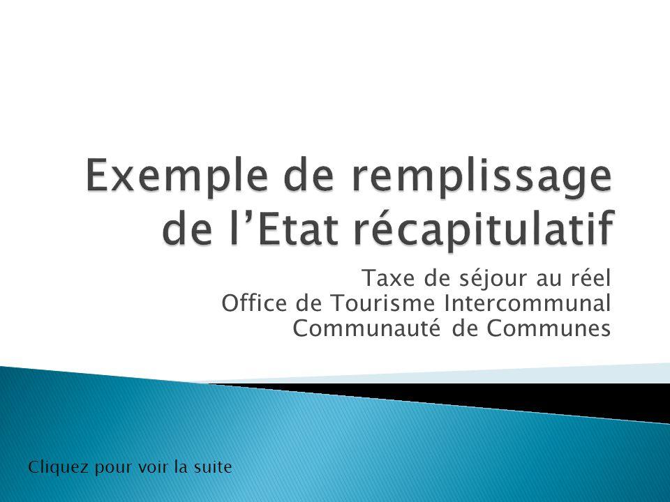 Taxe de séjour au réel Office de Tourisme Intercommunal Communauté de Communes Cliquez pour voir la suite