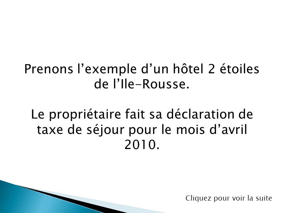 Prenons lexemple dun hôtel 2 étoiles de lIle-Rousse. Le propriétaire fait sa déclaration de taxe de séjour pour le mois davril 2010. Cliquez pour voir