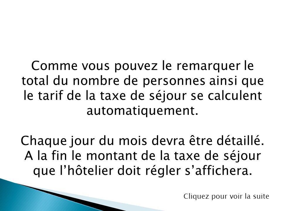 Comme vous pouvez le remarquer le total du nombre de personnes ainsi que le tarif de la taxe de séjour se calculent automatiquement. Chaque jour du mo