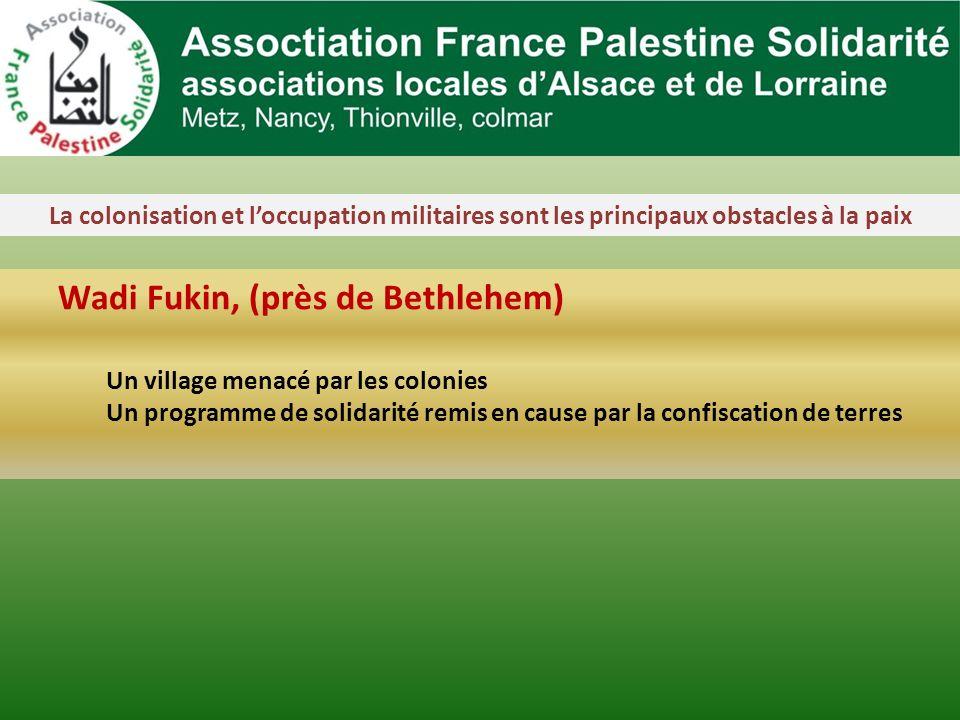 La colonisation et loccupation militaires sont les principaux obstacles à la paix Wadi Fukin, (près de Bethlehem) Un village menacé par les colonies Un programme de solidarité remis en cause par la confiscation de terres