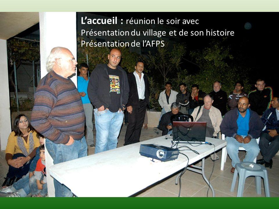 Laccueil : réunion le soir avec Présentation du village et de son histoire Présentation de lAFPS