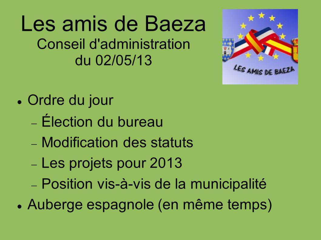 Les amis de Baeza Conseil d'administration du 02/05/13 Ordre du jour Élection du bureau Modification des statuts Les projets pour 2013 Position vis-à-