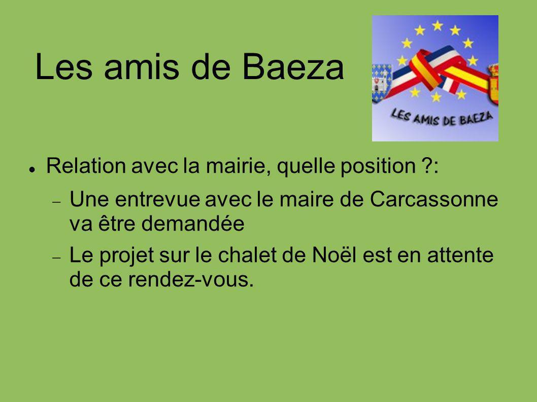 Les amis de Baeza Relation avec la mairie, quelle position ?: Une entrevue avec le maire de Carcassonne va être demandée Le projet sur le chalet de No